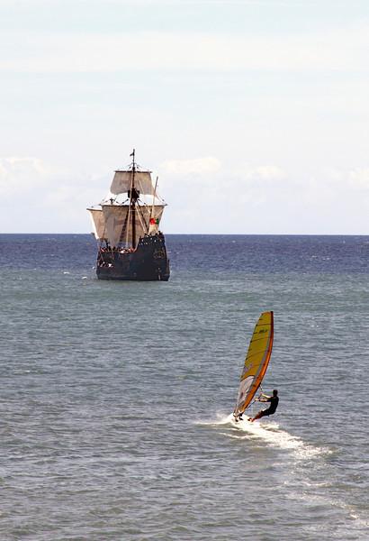 Santa Maria replica ship and windsurfer Funchal Madeira