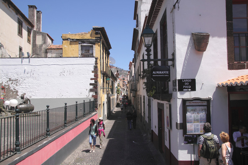 Rua de Santa Maria cobbled lane in Old Town Funchal Madeira