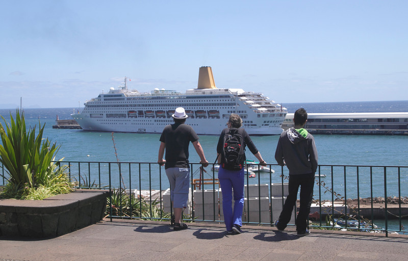 Cruise liner docked at Funchal Harbour Madeira