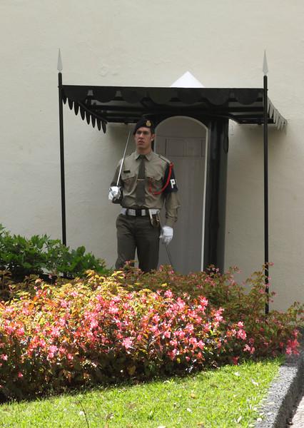 Guard near Entrance to Palacio de Sao Lourenco Funchal Madeira