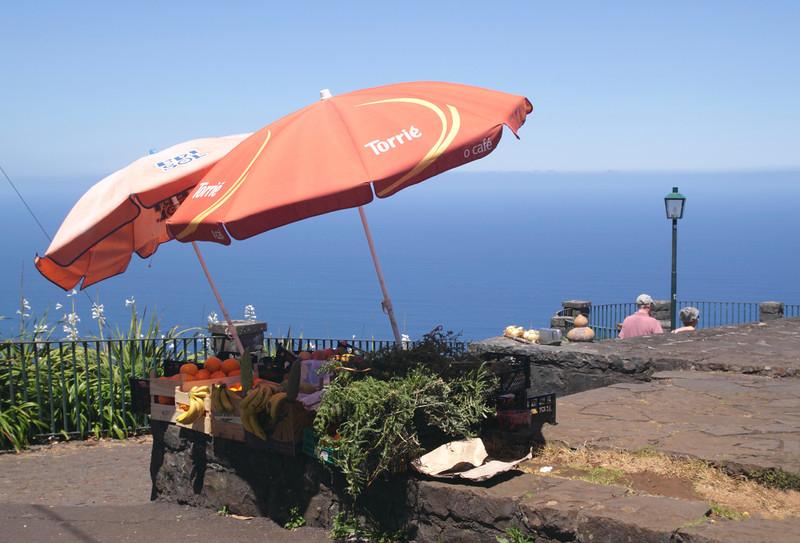 Fruit stall at Cabanas viewpoint on north coast Madeira