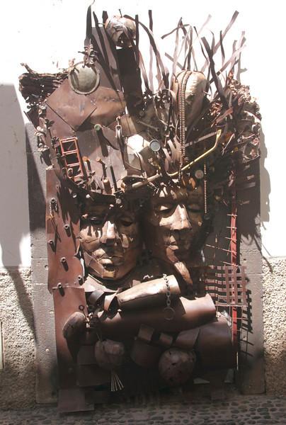 Metal door sculpture in Rua de Santa Maria in Old Town of Funchal Madeira