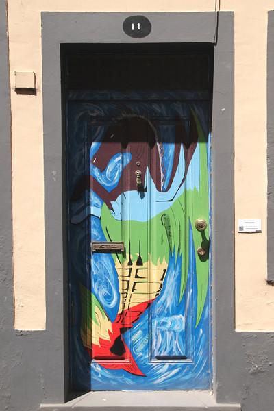 Door painting in Rua de Santa Maria in Old Town of Funchal Madeira