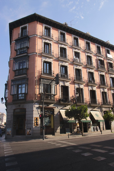 Buildings along the Calle Mayor street in Madrid Spain