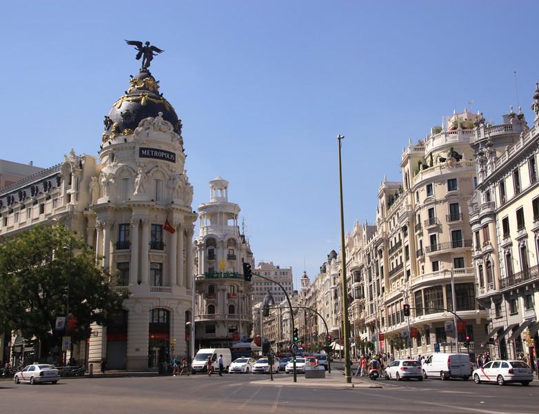 Metropolis building and entrance to Gran Via street Madrid Spain