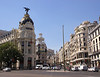 Metropolis building and entrance to Gran Via street Madrid Spain
