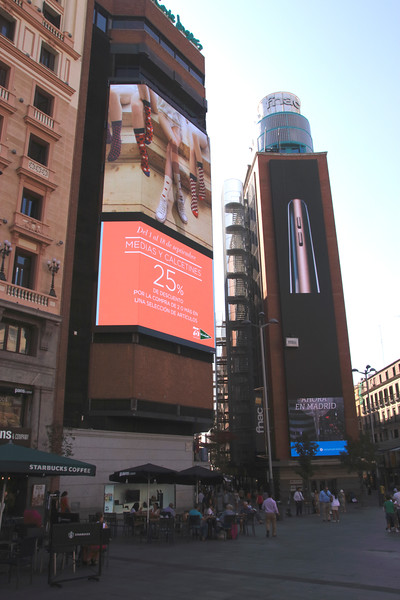 Neon advertising at Plaza del Callao Madrid Spain