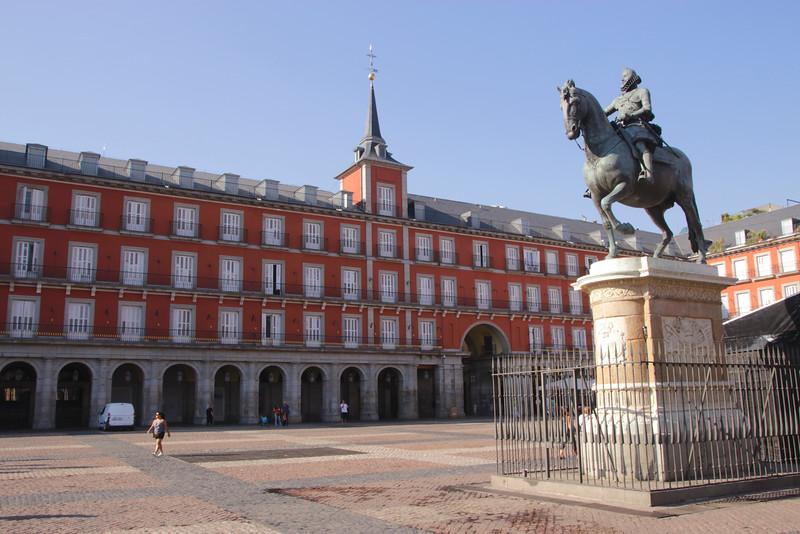 Plaza Mayor and Statue of Felipe III Madrid Spain