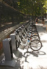 Bikes for hire near the Parque del Retiro Madrid Spain