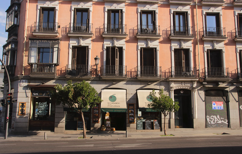 Buildings along the Calle Mayor street in Madrid Spain