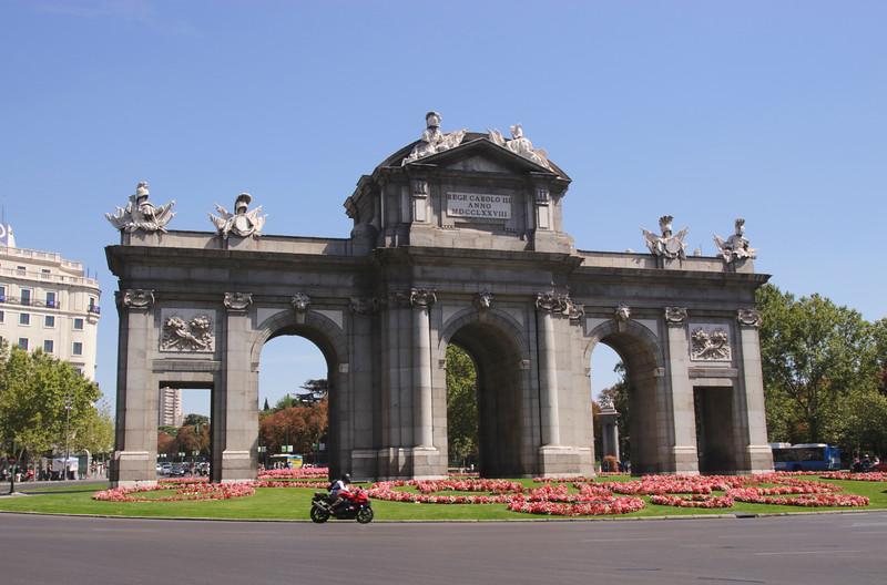 Puerta de Alcala city gateway at Plaza de la Independencia Madrid Spain