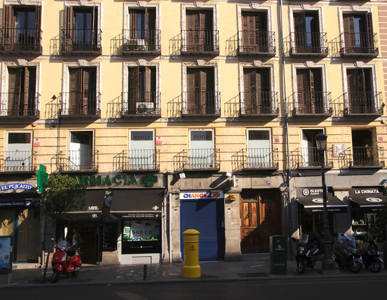 Shops along the Calle Mayor Madrid Spain
