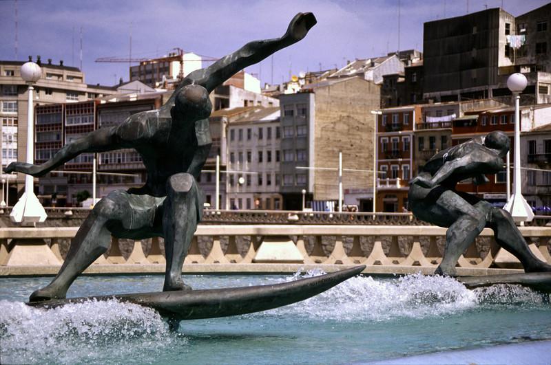 Surfing sculpture La Coruna North Spain