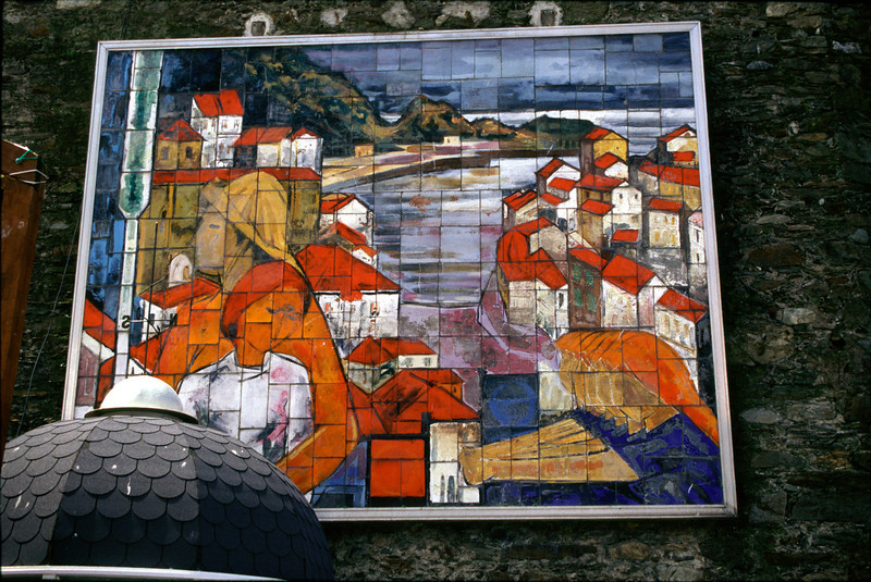 Large wall mosaic at Cudillero Asturias Spain