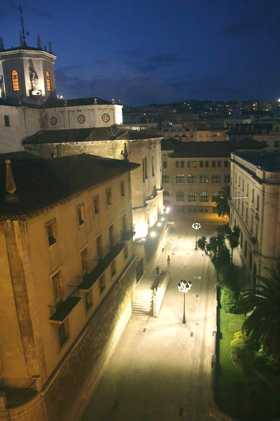 Santander skyline and Cathedral Spain at night