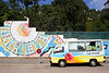 Ice Cream Van and graffiti near the beach at Santander Spain