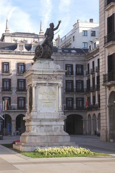Statue of Pedro Velarde by Plaza Porticada Santander Cantabria Spain