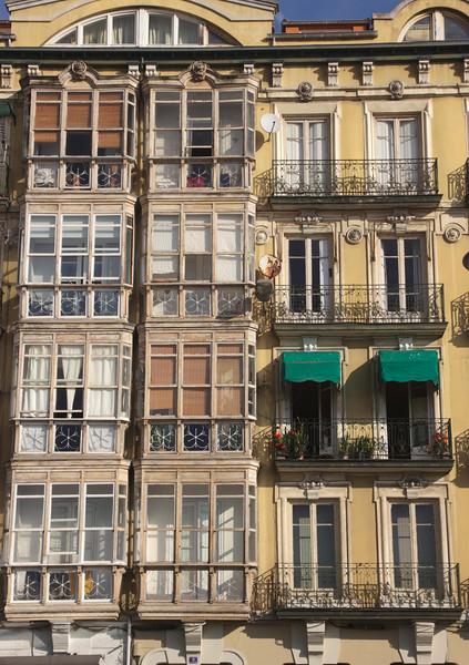 Closeup balconies along Calle Calderón de la Barca Santander Spain