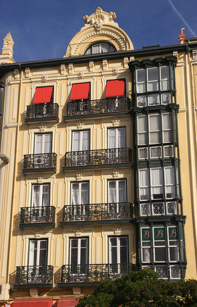 Balconies above El Machi restaurant Santander Spain