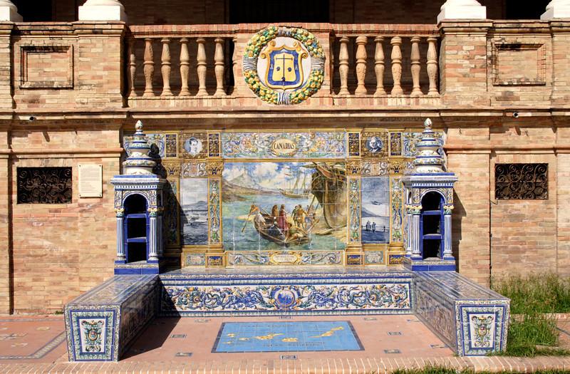 Mosaic tiled bench at the Plaza de Espana Seville