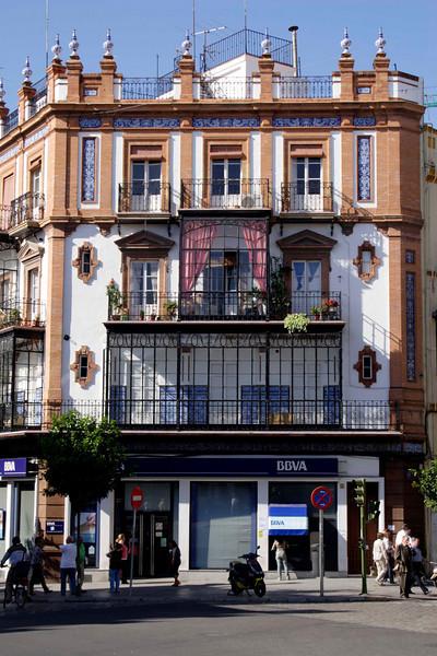 Building facade at the Plaza del Altozano Seville