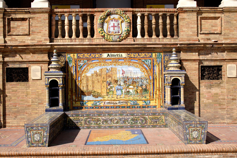 Mosaic tiled bench at the Plaza de Espana Seville
