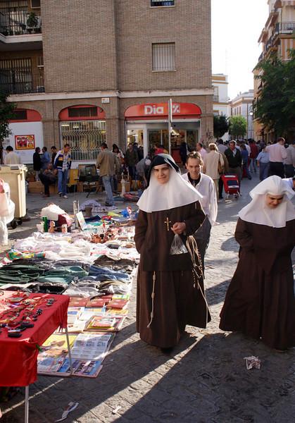 Nuns at Street Market Calle de la Feria Seville October 2007