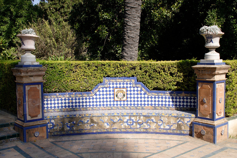 Ornamental bench in Real Alcazar Seville Gardens Seville