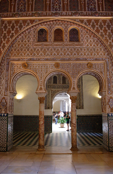 Horseshoe arches Ambassadors Hall in the Real Alcazar Seville