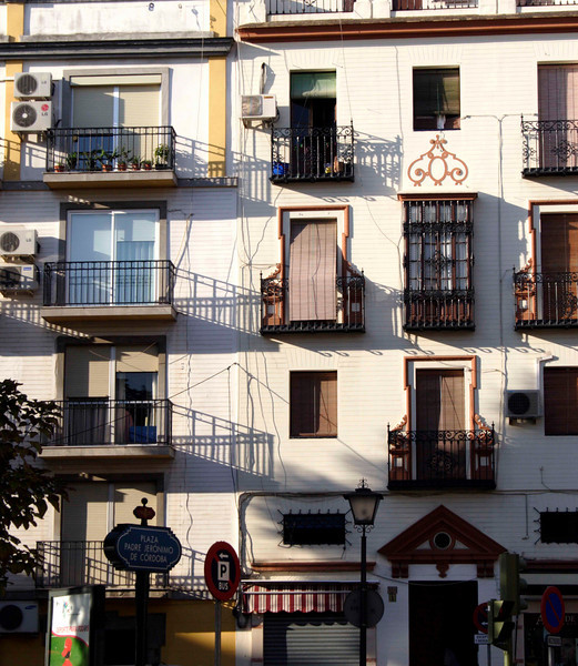 Facade of residential apartments in the La Macarena district Seville