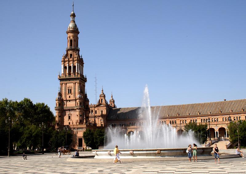 Fountain at the Plaza de Espana Seville