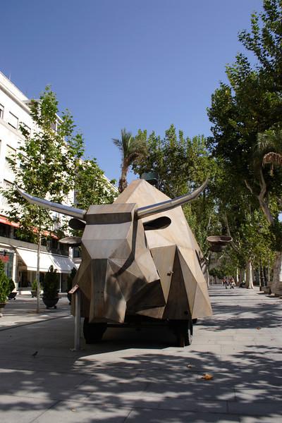 Metallic bull sculpture Plaza Nueva Seville