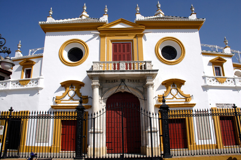 Baroque facade of the Bullring Seville