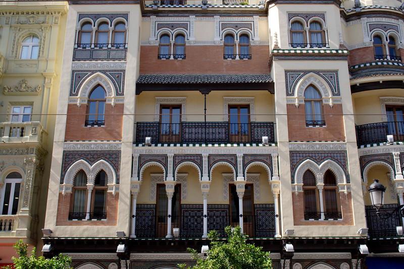 Ornate building Santa Cruz district Seville
