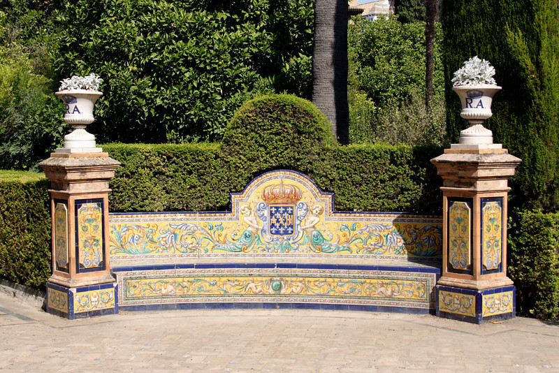 Ornamental bench in Real Alcazar Seville Gardens Seville