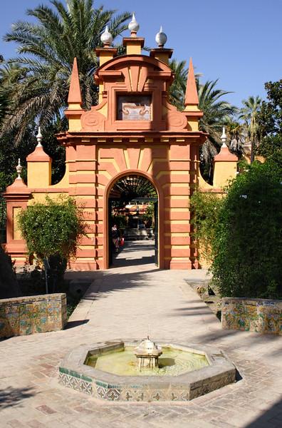 Gate in Real Alcazar Gardens Seville