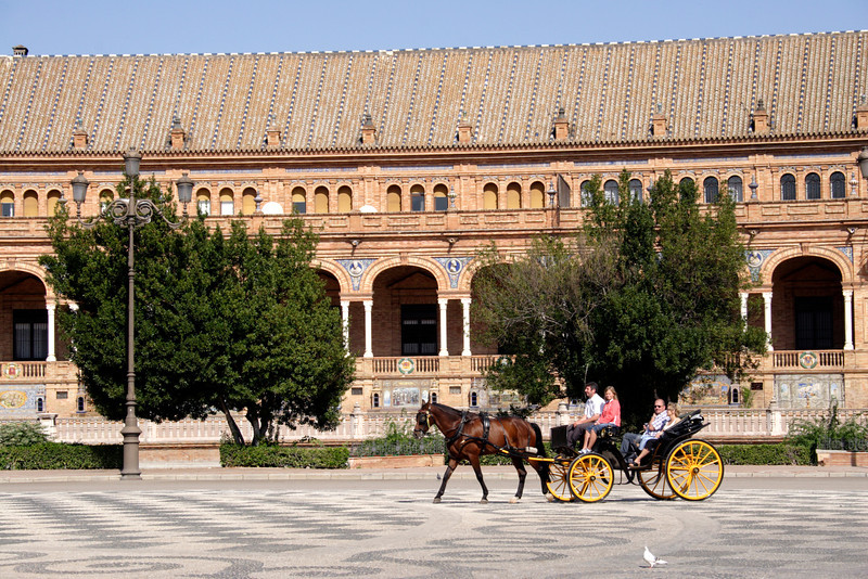Horse and carriage at the Plaza de Espana Seville
