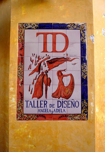 Azulejo Wall mural in the Santa Cruz district Seville