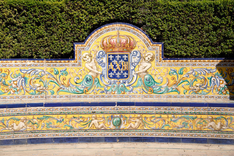 Ornamental bench in Real Alcazar Gardens Seville