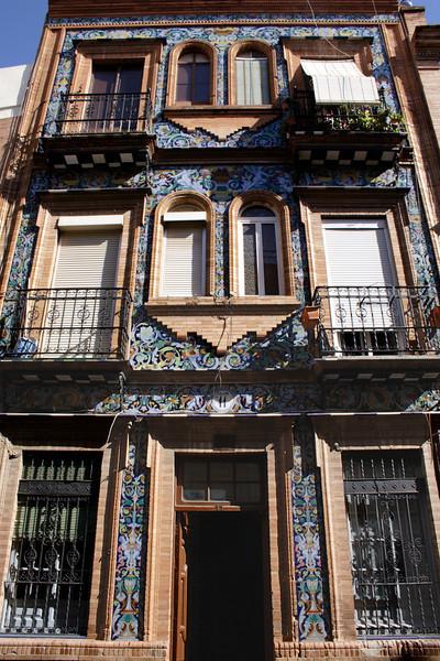 Building facade in the Calle Rodrigo de Triana Seville