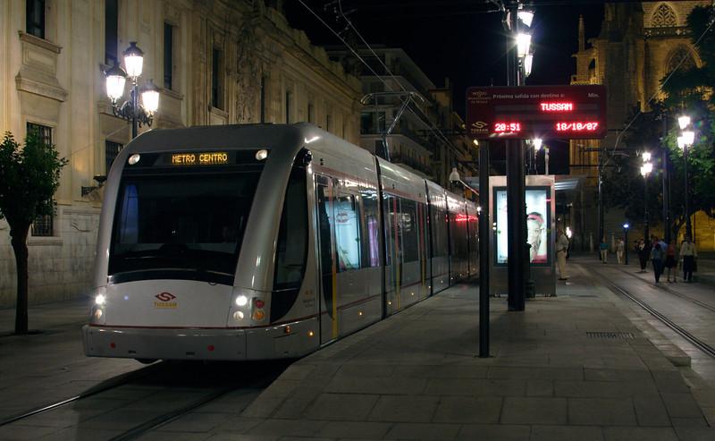 Tram in the Avenida de la Constitucion Seville at night