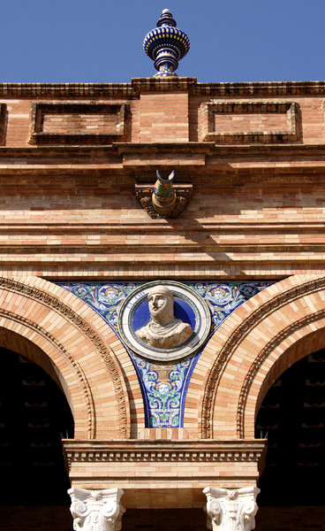 Closeup detail Plaza de Espana Seville