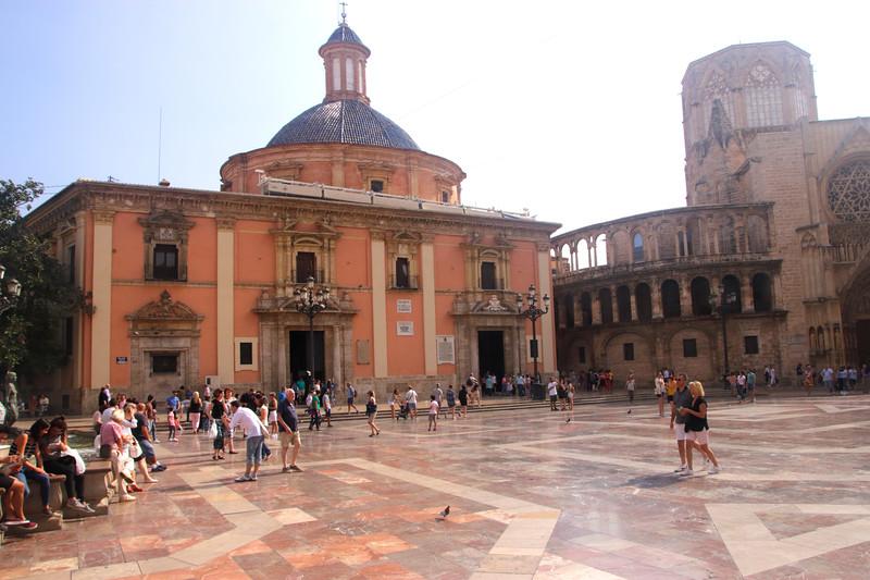 Plaza de la Virgen and Basílica de la Virgen de los Desamparados Valencia Spain