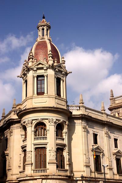 closeup detail Town Hall Plaza del Ayuntamiento Valencia Spain