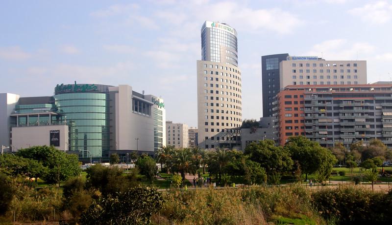 Valencia skyline view from Jardines del Turia Spain