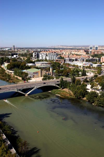 Aerial view of Ebro River and Puente de Santiago bridge Zaragoza Spain