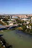 Aerial view of Ebro River and Puente de Santiago bridge Zaragoza Spain