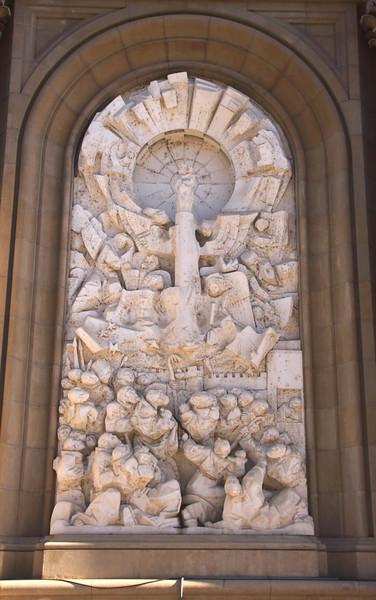Sculpture on facade of Basílica de Nuestra Señora del Pilar Zaragoza Spain