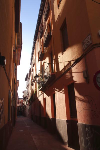 Calle Anon alley in old city centre Zaragoza Spain