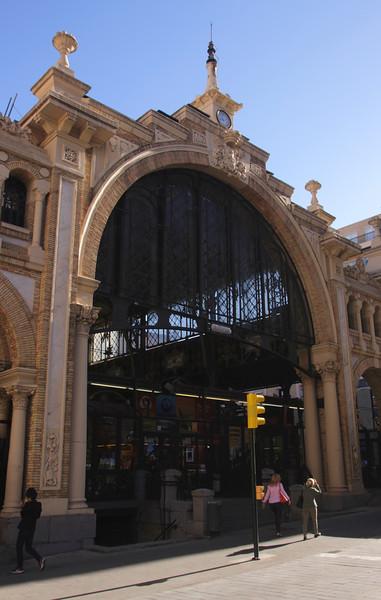 Facade of Central Market Zaragoza Spain